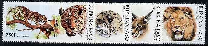 Burkina Faso 1996 Big Cats complete perf set of 4 unmounted mint, stamps on cats