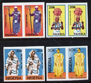 Nigeria 1989 Traditional Costumes set of 4 in unmounted mint IMPERF pairs, as SG 582-85*