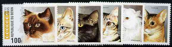 Benin 1995 Domestic Cats complete set of 6, SG 1298-1303, Mi 668-73 unmounted mint*
