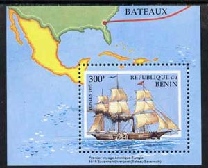 Benin 1995 Ships m/sheet (300f value) SG MS 1291, Mi BL 9 unmounted mint, stamps on ships     maps