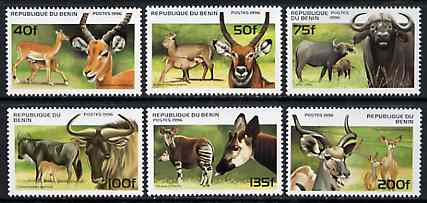 Benin 1996 Animals complete set of 6, unmounted mint SG 1439-44*, stamps on animals    buffalo    bovine    antelope