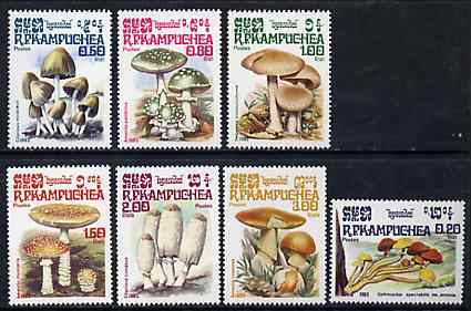 Kampuchea 1985 Fungi complete unmounted mint set of 7, SG 606-12, Mi 648-54*