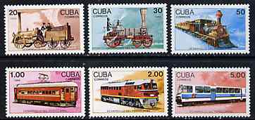 Cuba 1988 Railway Development complete set of unmounted mint, SG 3365-70, Mi 3221-26*