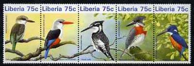 Liberia 1996 Kingfishers unmounted mint se-tenant strip of 5