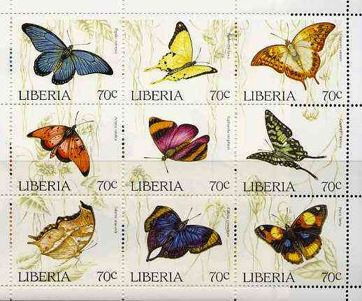 Liberia 1996 Butterflies unmounted mint sheetlet containing complete set of 9 values