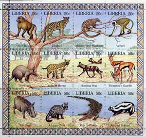 Liberia 1996 Animals perf sheetlet containing complete set of 12 values unmounted mint