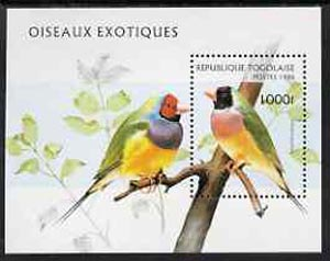 Togo 1996 Exotic Birds unmounted mint m/sheet, Mi BL 400, stamps on birds