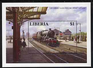 Liberia 1995 Locomotives $1 m/sheet (LMS Jubilee Class 45684 Jutland at Kettering Station) unmounted mint