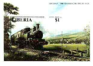 Liberia 1995 Locomotives $1 m/sheet (GWR 0-4-2 1400 Class passing Cricket Match) unmounted mint