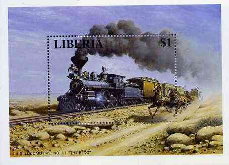 Liberia 1995 Locomotives $1 m/sheet (4-4-0 Loco No. 11 Reno with Stage Coach alongside) unmounted mint