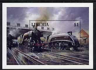 Liberia 1994 Locomotives $1 m/sheet (ER Pacifics A3 60044 Melton & A4 60017 Silver Fox) unmounted mint
