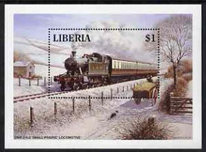 Liberia 1994 Locomotives $1 m/sheet (GWR 2-6-2 Small Prairie Loco in snow scene with Dog) unmounted mint
