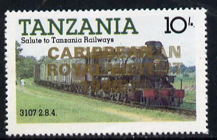 Tanzania 1985 Locomotive 3107 10s value (SG 431) unmounted mint perforated proof single with 'Caribbean Royal Visit 1985' opt in gold doubled