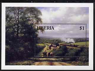 Liberia 1994 Locomotives $1 m/sheet (GWR 0-6-0 Pannier Tank Loco in rural setting) unmounted mint