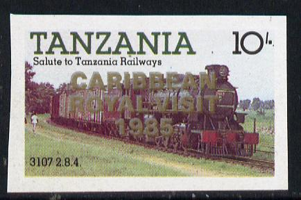 Tanzania 1985 Locomotive 3107 10s value (SG 431) unmounted mint imperf proof single with 'Caribbean Royal Visit 1985' opt doubled, one in silver, one in gold