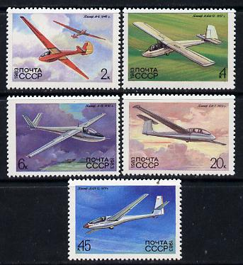 Russia 1983 Gliders (2nd issue) set of 5 unmounted mint, SG 5301-05