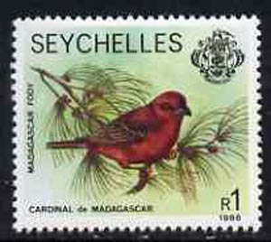 Seychelles 1981-91 Red Fody 1r from def set unmounted mint, SG 487