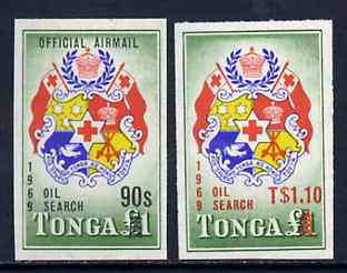 Tonga 1969 Official imperf set of 2 opt
