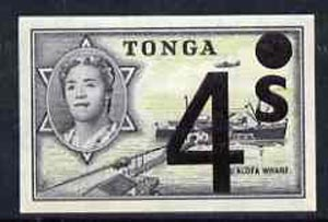 Tonga 1969 Surcharged 4s on 8d (Freighter Matua) unmounted mint imperf, SG 276