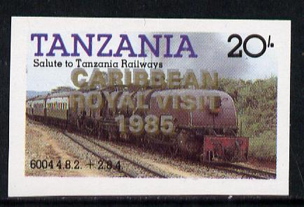 Tanzania 1985 Locomotive 6004 20s value (SG 432) unmounted mint imperf proof single with 'Caribbean Royal Visit 1985' opt doubled, one in silver, one in gold