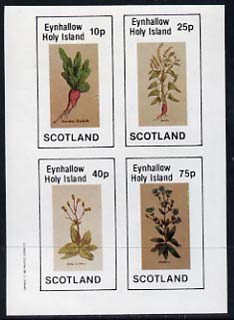 Eynhallow 1982 Vegetables (Raddish, Lettuce, etc) imperf set of 4 values (10p to 75p) unmounted mint