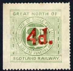 Cinderella - Great Britain 1925 Great North of Scotland Railway 4d in red on 3d green letter stamp (disturbed gum)*