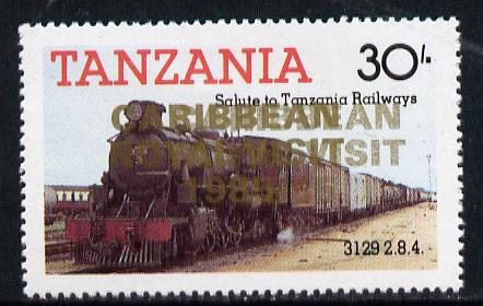 Tanzania 1985 Locomotive 3129 30s value (SG 433) unmounted mint perforated proof single with 'Caribbean Royal Visit 1985' opt in gold doubled