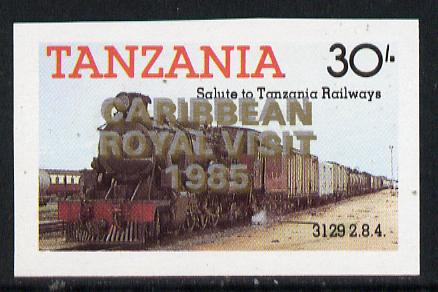 Tanzania 1985 Locomotive 3129 30s value (SG 433) unmounted mint imperf proof single with 'Caribbean Royal Visit 1985' opt doubled, one in silver, one in gold