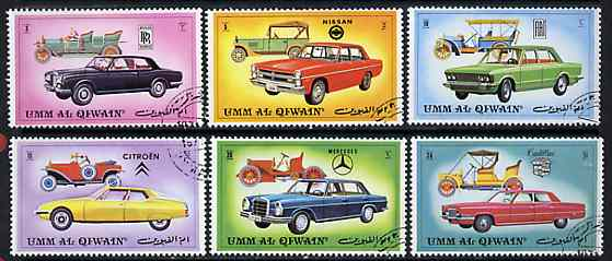 Umm Al Qiwain 1972 Cars (Vintage & Modern) set of 6 cto used, Mi 637-42