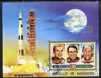 Umm Al Qiwain 1972 Apollo 15 imperf m/sheet (Astronauts & rockert Launch) opt'd for Anniversary of Kepler's Birth, cto used, Mi BL 44B
