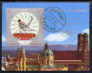 Fujeira 1971 Munich Olympics imperf m/sheet (Pommel Horse) cto used, Mi BL 53B
