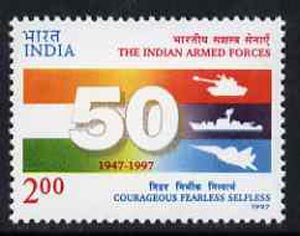 India 1997 50th Anniversary of Indian Armed Forces, unmounted mint SG 1762*