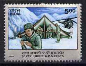 India 1997 Silver Jubilee of APS Corps (Helicopter & Mountains) unmounted mint SG 1697*