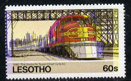 Lesotho 1984 Railways of the World 60s Santa Fe Super Chief with superb shift of red and blue unmounted mint (as SG 608)