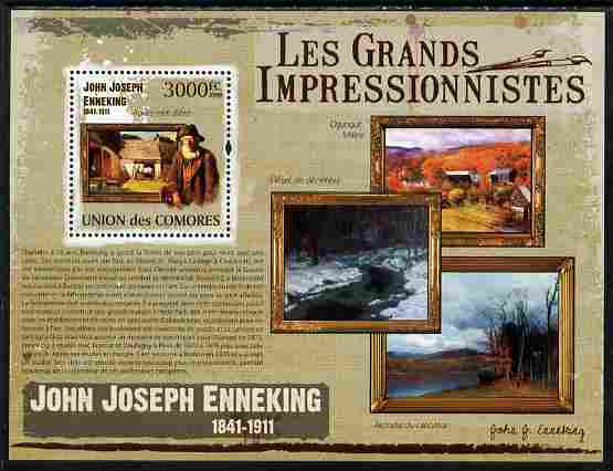 Comoro Islands 2009 The Impressionists - John Joseph Enneking perf souvenir sheet unmounted mint