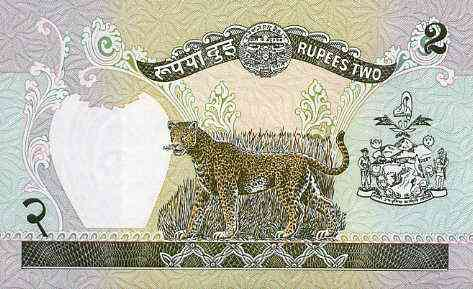 Bank note - Nepal 2 rupee note in pristine condition with leopard on reverse