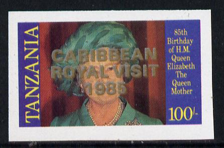 Tanzania 1985 Life & Times of HM Queen Mother 100s (SG 428) unmounted mint imperf proof single with 'Caribbean Royal Visit 1985' opt doubled, one in silver, one in gold*