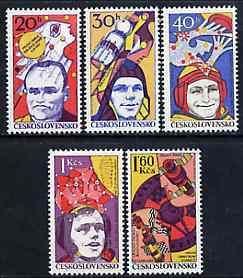 Czechoslovakia 1977 Space Research unmounted mint set of 5, SG 2367-71, Mi 2402-06