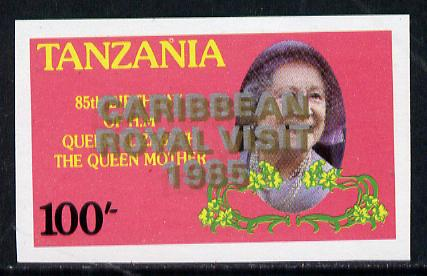 Tanzania 1985 Life & Times of HM Queen Mother 100s (SG 427) unmounted mint imperf proof single with 'Caribbean Royal Visit 1985' opt doubled, one in silver, one in gold*