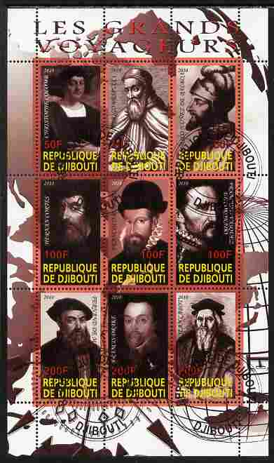 Djibouti 2010 Great Explorers #3 perf sheetlet containing 9 values fine cto used