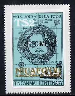 Tonga - Niuafo'ou 1983 Map 2p self-adhesive opt'd SPECIMEN, as SG 16 unmounted mint, stamps on maps, stamps on self adhesive