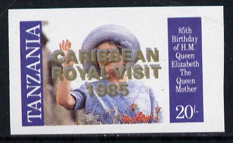 Tanzania 1985 Life & Times of HM Queen Mother 20s (SG 426) unmounted mint imperf proof single with 'Caribbean Royal Visit 1985' opt doubled, one in silver, one in gold*