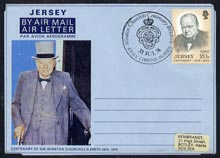 Jersey 1974 Churchill Centenary Airletter form inscribed 'JERSEY' bearing Great Britain 20p Churchill stamp with special commemorative cancel