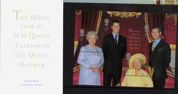 Great Britain 2000 Queen Mother's 100th Birthday m/sheet (featuring 4 generations of the Royal Family) in official presentation pack SG MS 2161