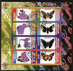 Congo 2010 Disney & Butterflies #1 perf sheetlet containing 8 values with Scout Logo fine cto used