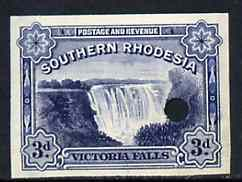 Southern Rhodesia 1935 Victoria Falls 3d blue imperf proof with tiny security punch hole, ex Waterlow & Sons archive proof sheet as used for checking and correcting, therefore slight soiling and creasing*