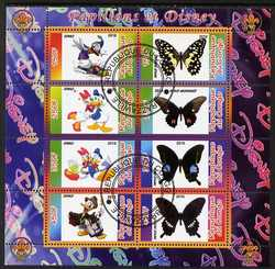 Congo 2010 Disney & Butterflies #2 perf sheetlet containing 8 values with Scout Logo fine cto used