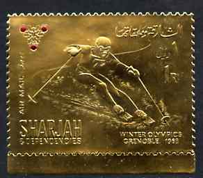 Sharjah 1968 Winter Olympics 1r (Skiing) perf embossed in gold foil with symbol embellished in red unmounted mint, Mi 464A