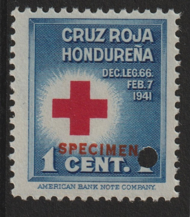 Honduras 1941 Obligatory Tax - Red Cross 1c blue & red unmounted mint optd SPECIMEN with security punch hole (ex ABN Co archives) SG 409*
