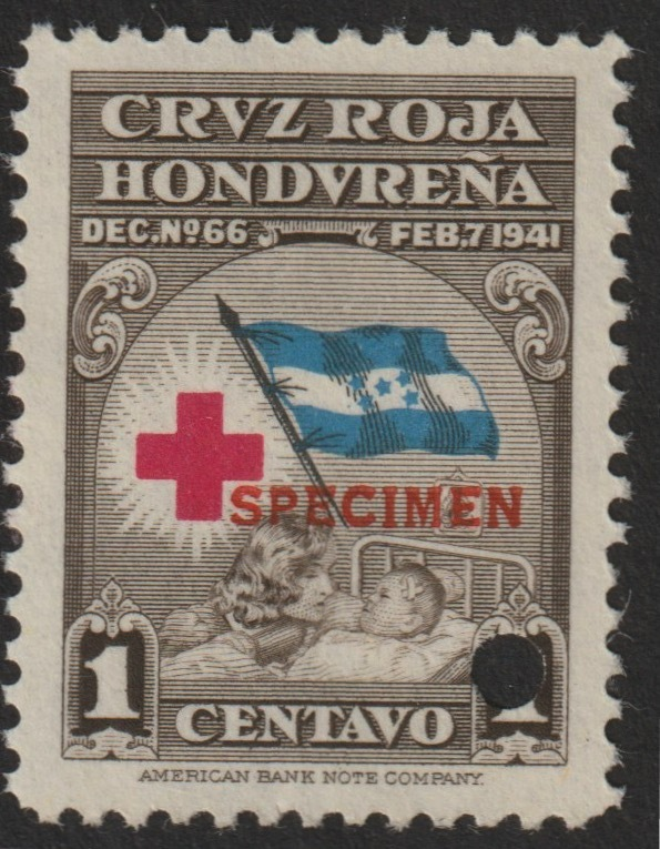 Honduras 1945 Obligatory Tax - Red Cross 1c brown, blue & red unmounted mint optd SPECIMEN with security punch hole (ex ABN Co archives) SG 456*
